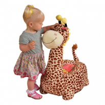 Plush Brown Giraffe Sofa Riding Chair Plush Toys